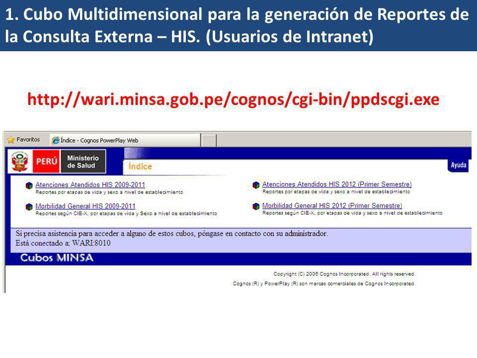 1. Cubo Multidimensional para la generación de Reportes de la Consulta Externa – HIS. (Usuarios de Intranet)