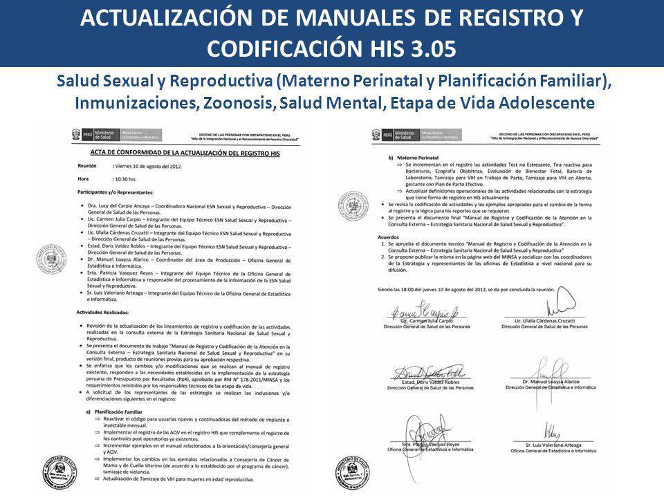 ACTUALIZACIÓN DE MANUALES DE REGISTRO Y CODIFICACIÓN HIS 3.05