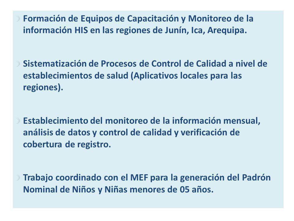 Formación de Equipos de Capacitación y Monitoreo de la información HIS en las regiones de Junín, Ica, Arequipa.