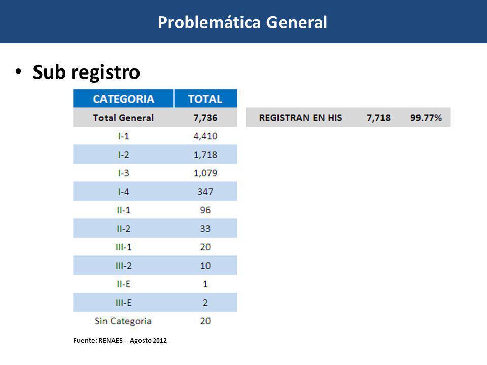 Sub registro Problemática General Fuente: RENAES – Al 27 Agosto 2012