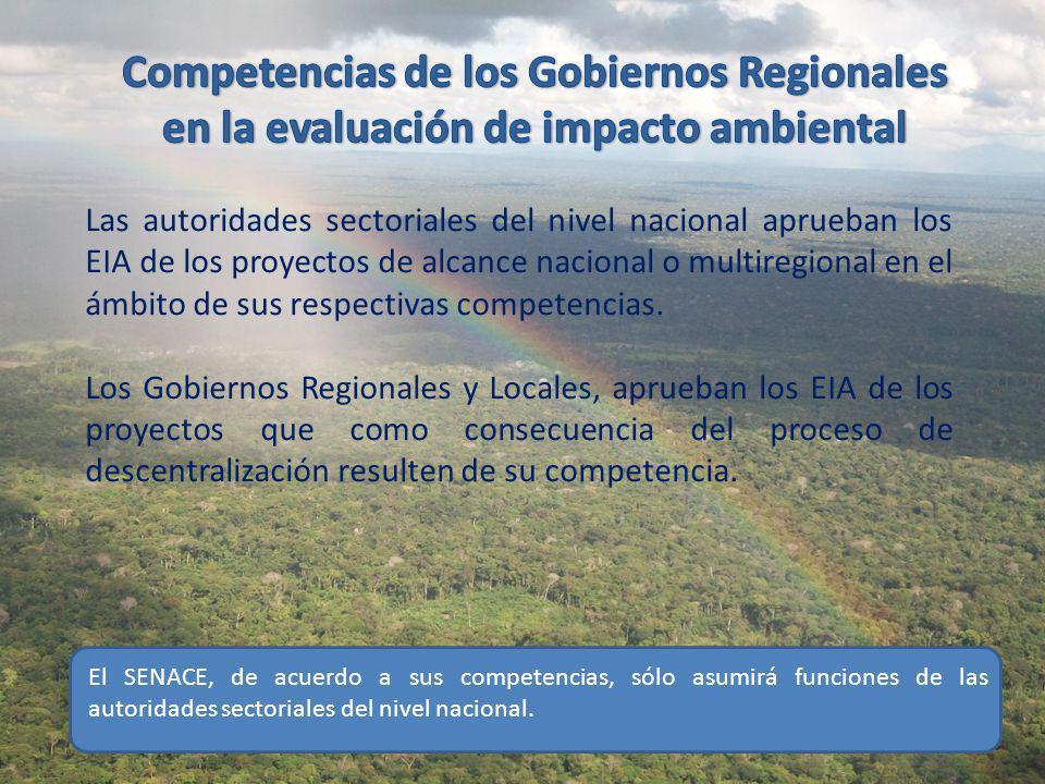 al Competencias de los Gobiernos Regionales en la evaluación de impacto ambiental.