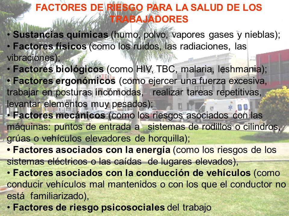 FACTORES DE RIESGO PARA LA SALUD DE LOS TRABAJADORES