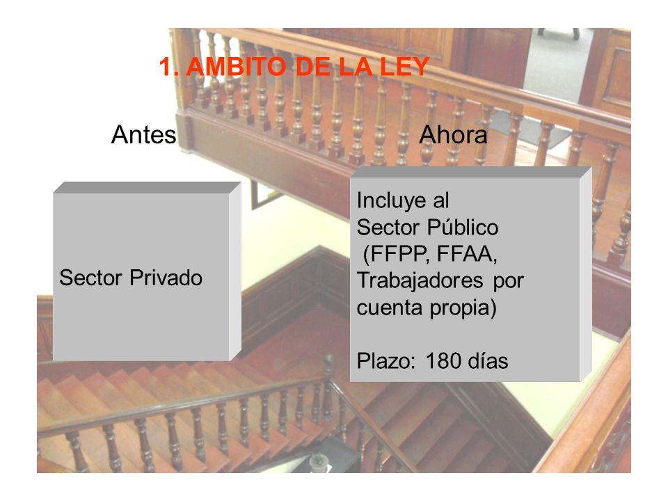 1. AMBITO DE LA LEY Antes Ahora Incluye al Sector Público (FFPP, FFAA,