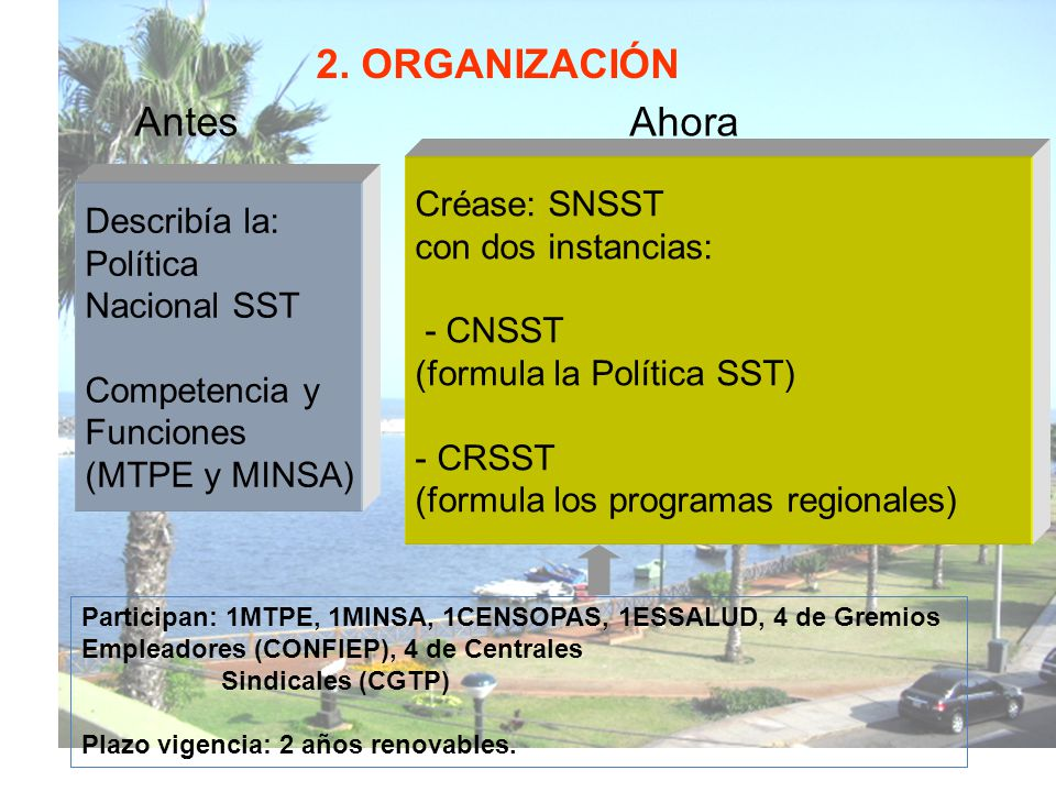 2. ORGANIZACIÓN Antes Ahora Créase: SNSST con dos instancias: - CNSST