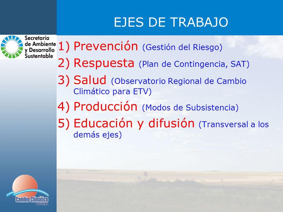 EJES DE TRABAJO Prevención (Gestión del Riesgo)