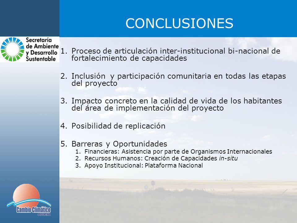 CONCLUSIONES Proceso de articulación inter-institucional bi-nacional de fortalecimiento de capacidades.