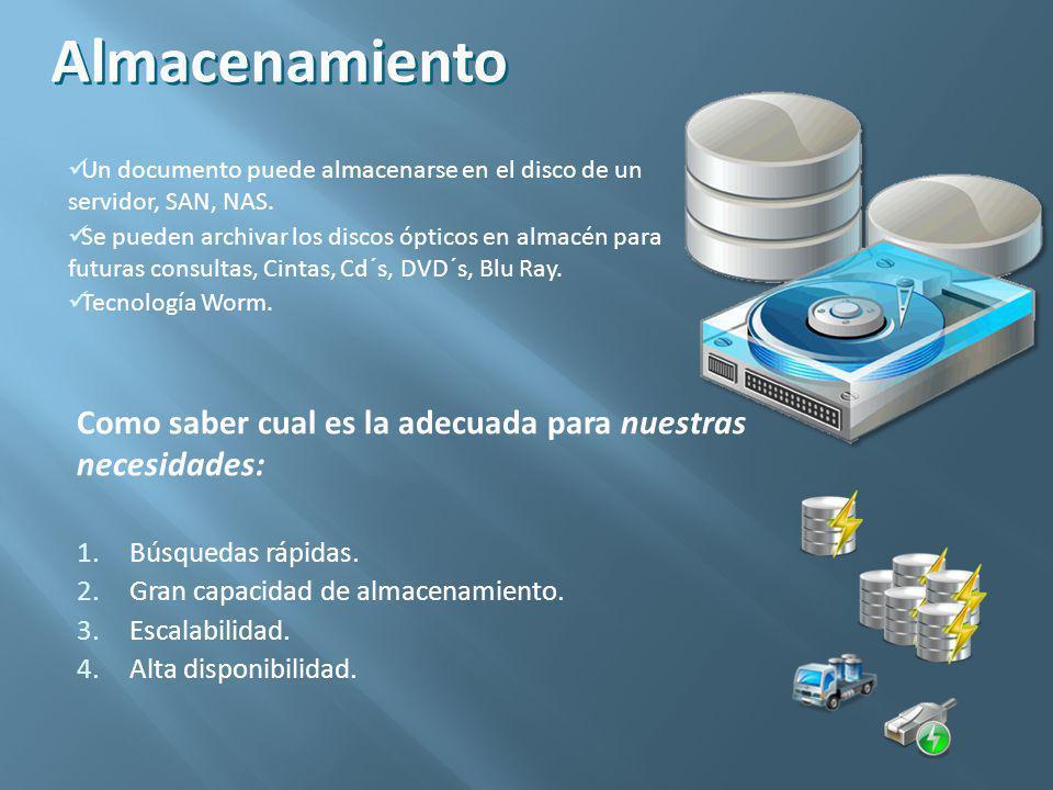 Almacenamiento Un documento puede almacenarse en el disco de un servidor, SAN, NAS.