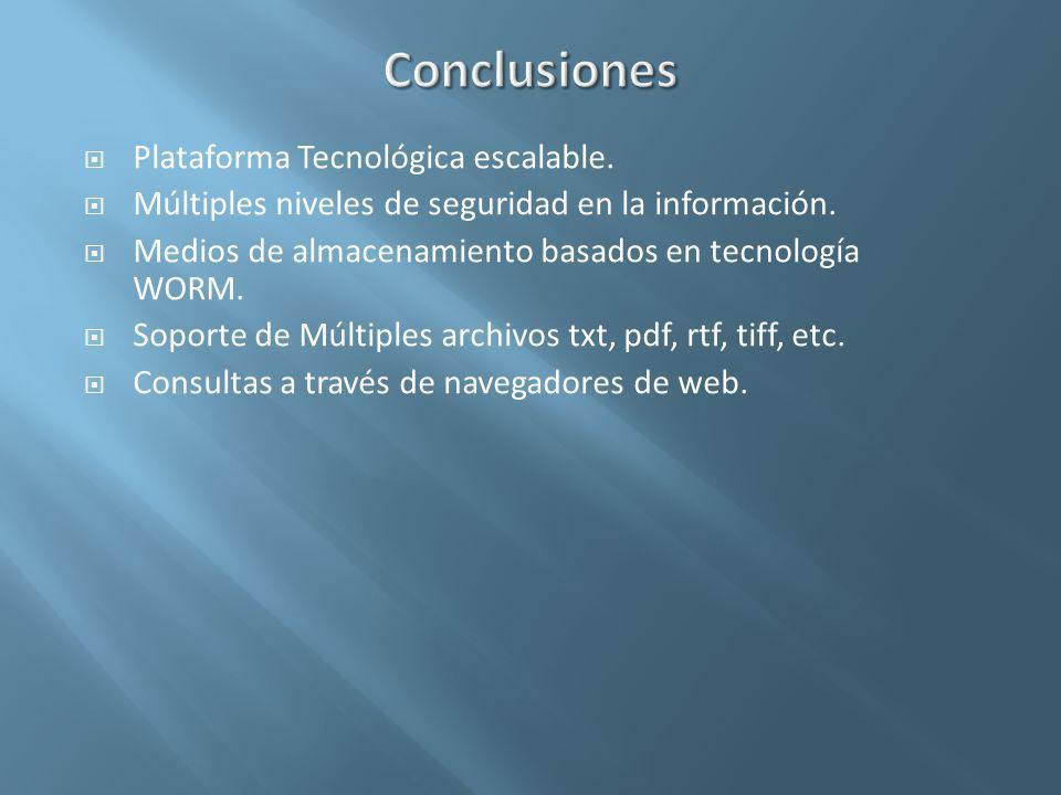 Conclusiones Plataforma Tecnológica escalable.