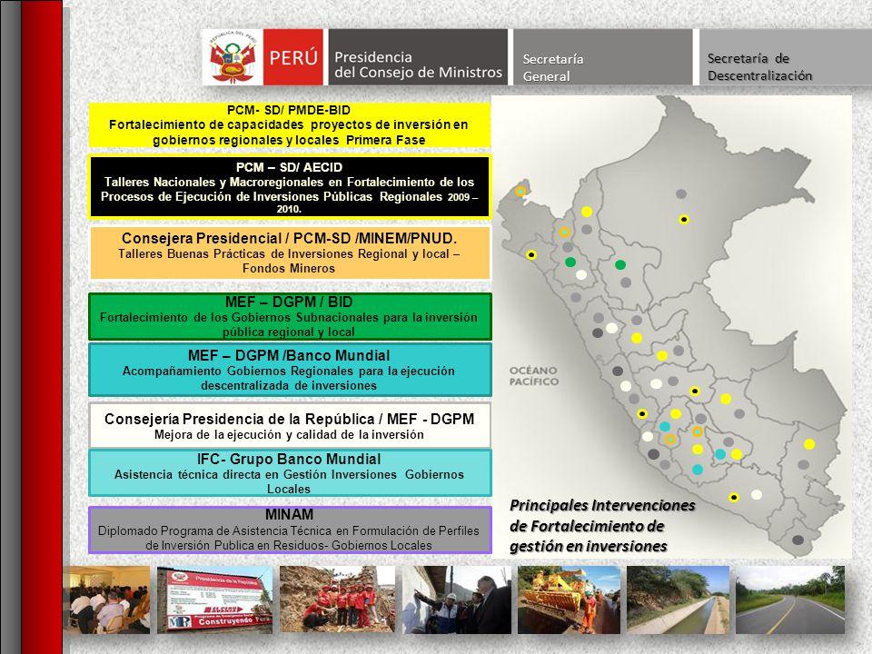 Secretaría General. Secretaría de Descentralización. Consejería Presidencia de la República / MEF - DGPM.