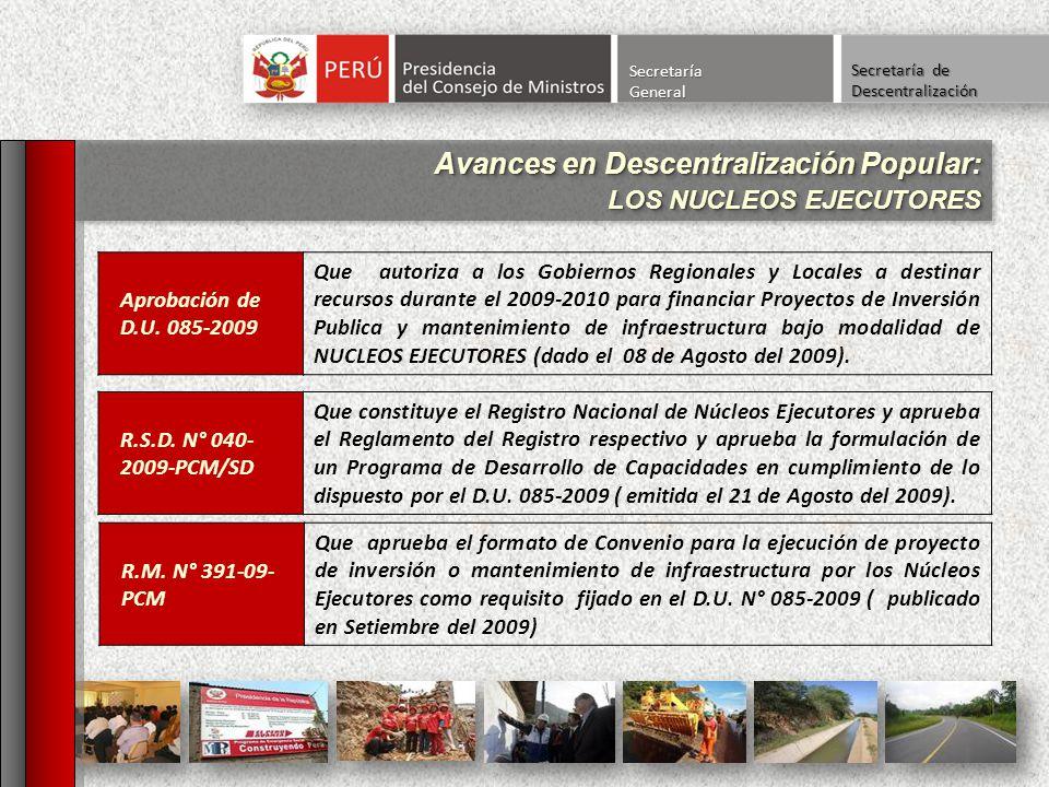 Avances en Descentralización Popular: LOS NUCLEOS EJECUTORES