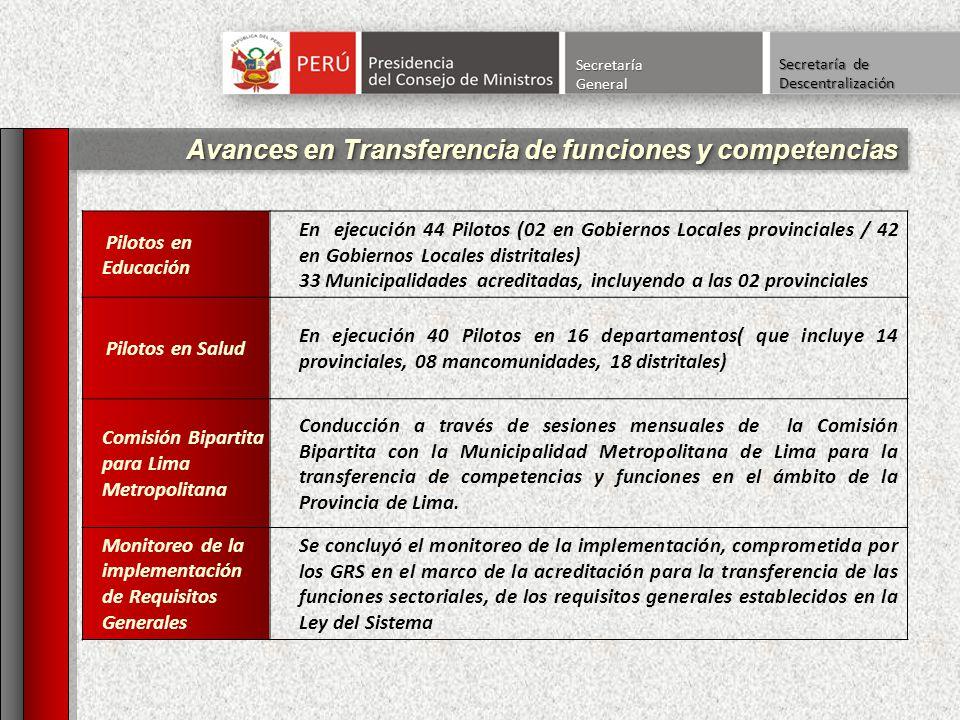 Avances en Transferencia de funciones y competencias