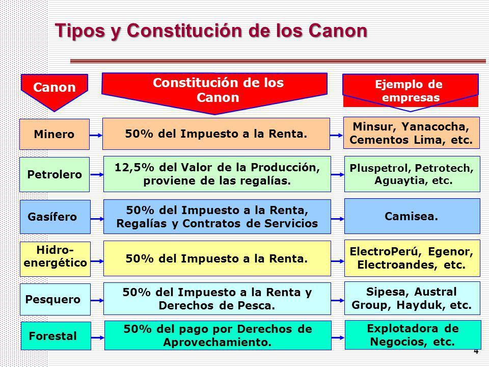 Tipos y Constitución de los Canon