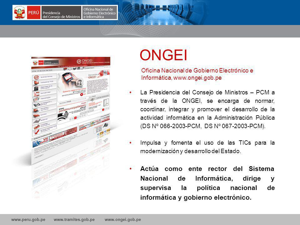 ONGEI Oficina Nacional de Gobierno Electrónico e Informática, www.ongei.gob.pe.