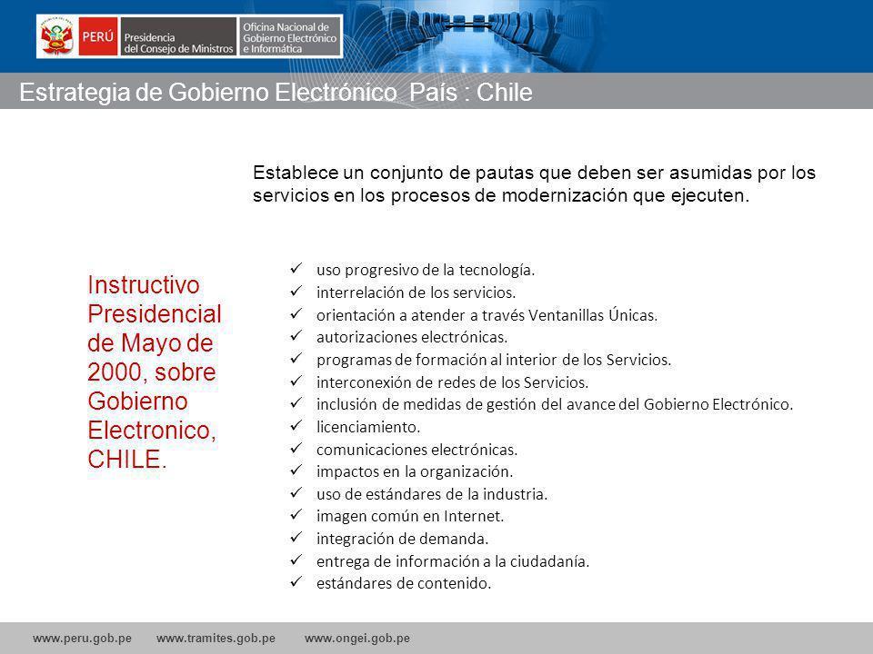 Estrategia de Gobierno Electrónico País : Chile