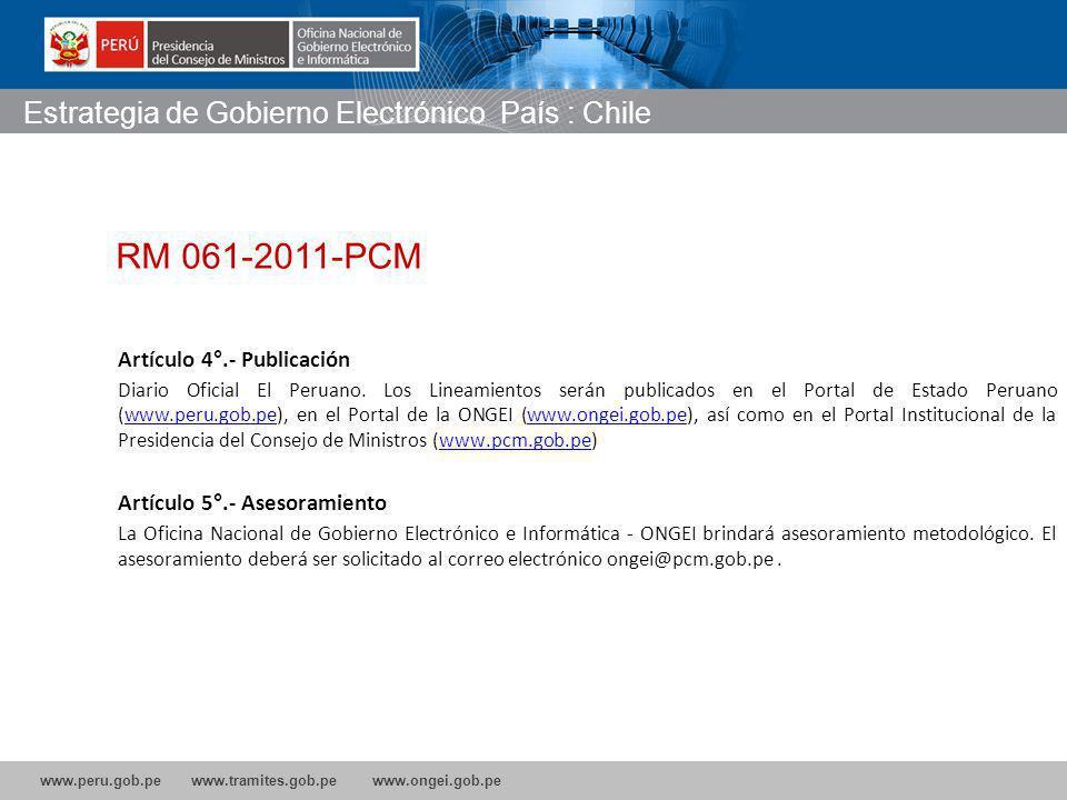 RM 061-2011-PCM Estrategia de Gobierno Electrónico País : Chile