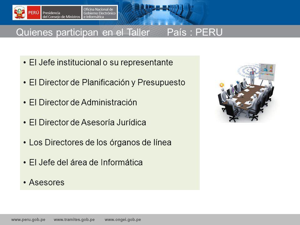 Quienes participan en el Taller País : PERU