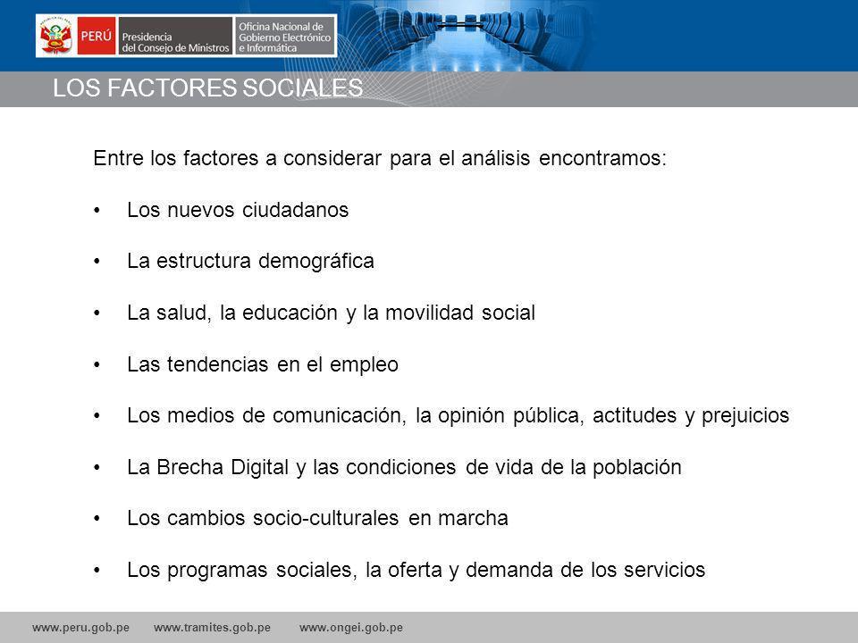 LOS FACTORES SOCIALES Entre los factores a considerar para el análisis encontramos: Los nuevos ciudadanos.