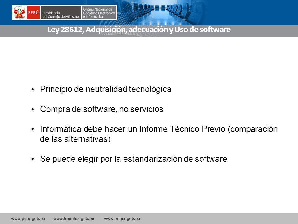 Ley 28612, Adquisición, adecuación y Uso de software
