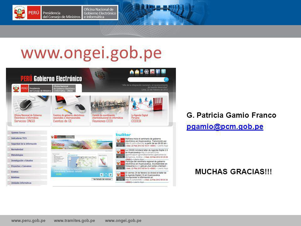 www.ongei.gob.pe G. Patricia Gamio Franco pgamio@pcm.gob.pe