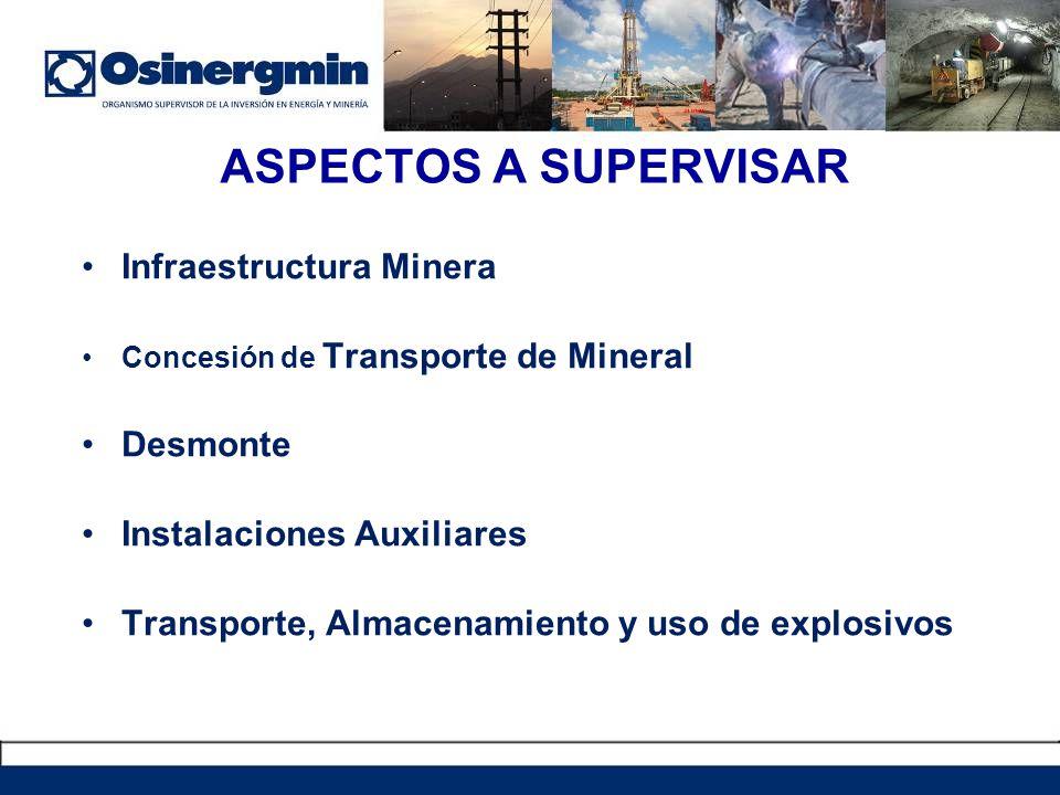 ASPECTOS A SUPERVISAR Infraestructura Minera Desmonte