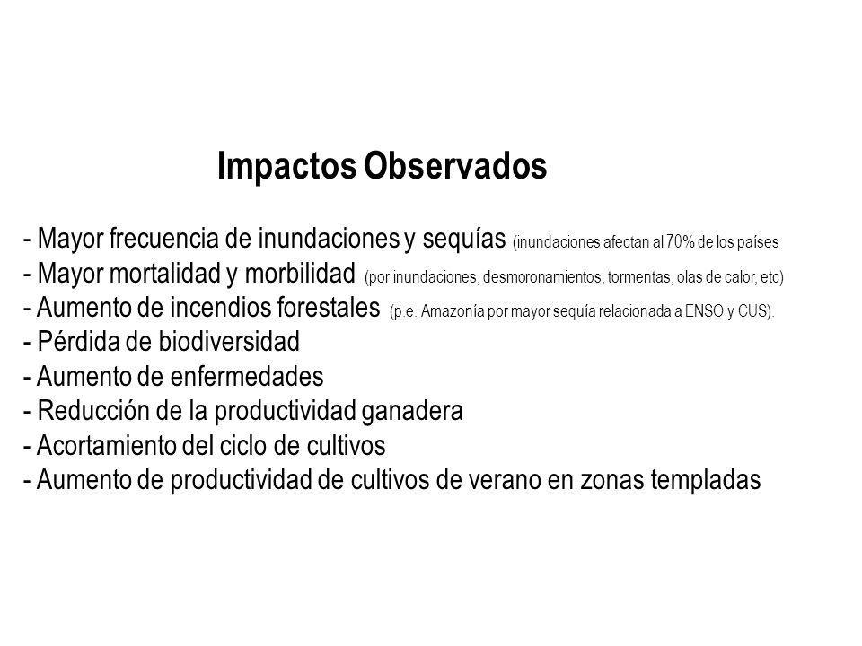 Impactos Observados - Mayor frecuencia de inundaciones y sequías (inundaciones afectan al 70% de los países.