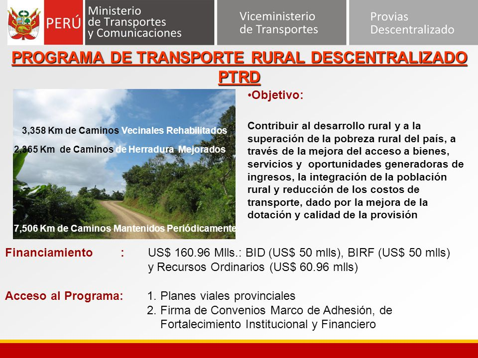 PROGRAMA DE TRANSPORTE RURAL DESCENTRALIZADO