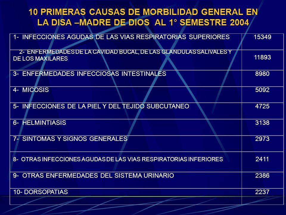 10 PRIMERAS CAUSAS DE MORBILIDAD GENERAL EN LA DISA –MADRE DE DIOS AL 1° SEMESTRE 2004