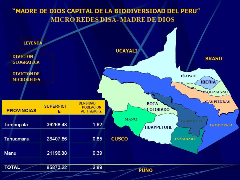 MICRO REDES DISA- MADRE DE DIOS DENSIDAD POBLACIONAL Hab/Km2.
