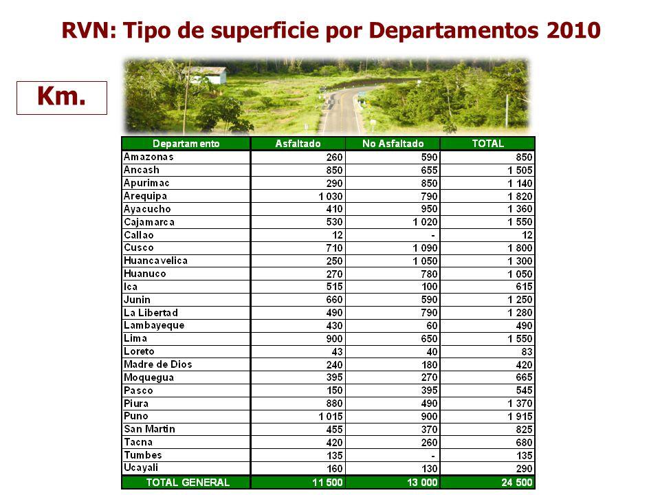 RVN: Tipo de superficie por Departamentos 2010