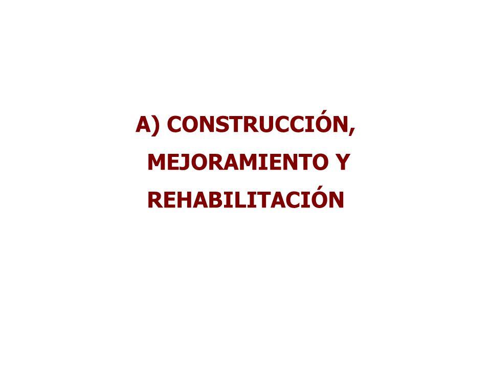 A) CONSTRUCCIÓN, MEJORAMIENTO Y REHABILITACIÓN