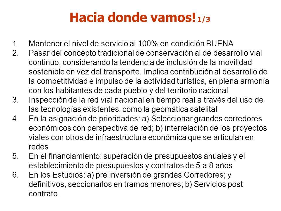 Hacia donde vamos! 1/3 Mantener el nivel de servicio al 100% en condición BUENA.
