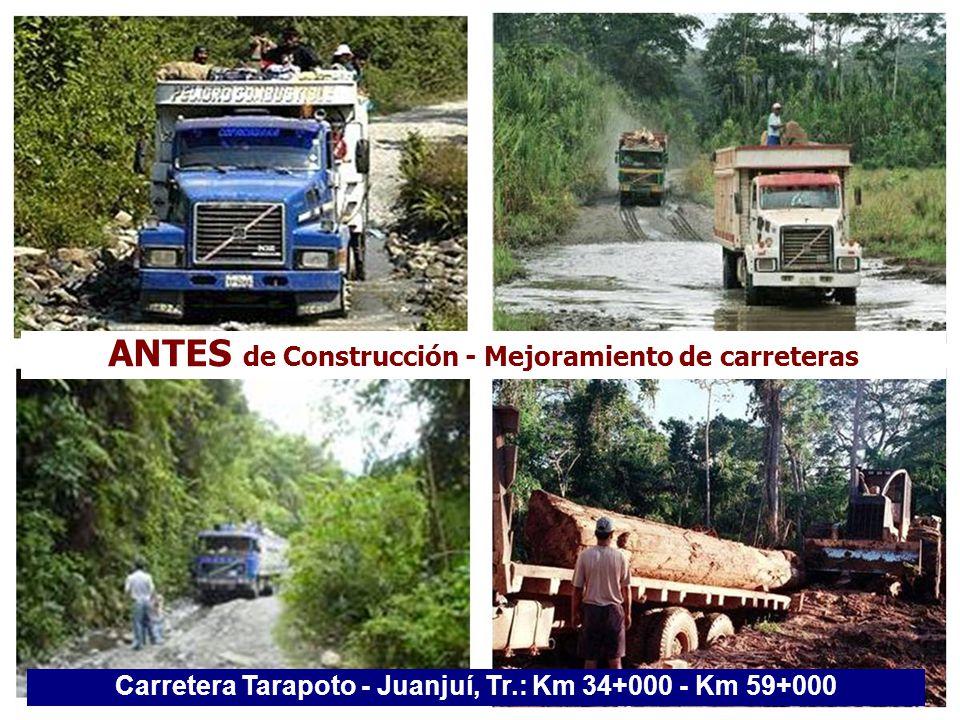 ANTES de Construcción - Mejoramiento de carreteras