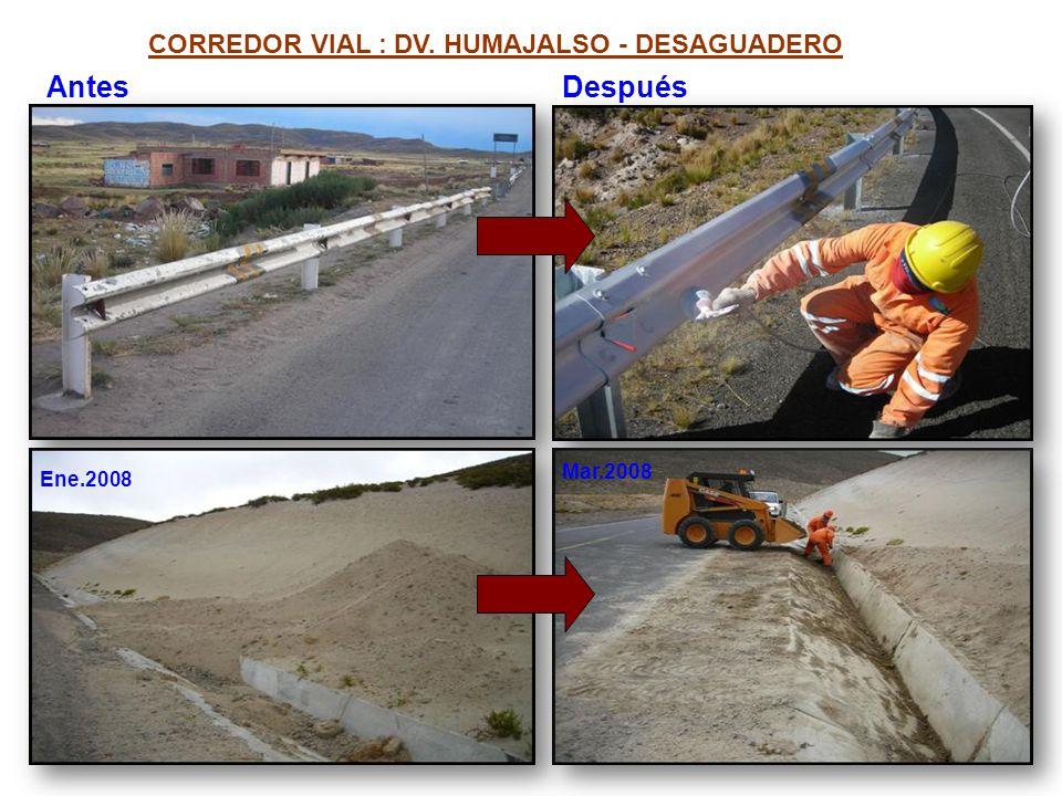 Antes Después CORREDOR VIAL : DV. HUMAJALSO - DESAGUADERO Mar.2008