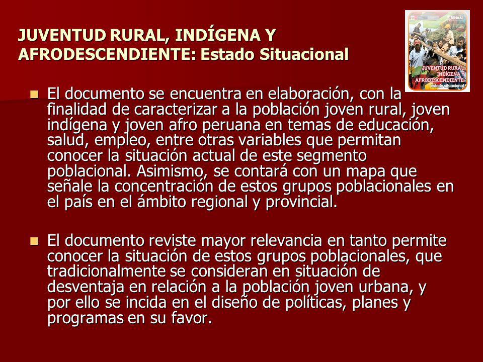 JUVENTUD RURAL, INDÍGENA Y AFRODESCENDIENTE: Estado Situacional