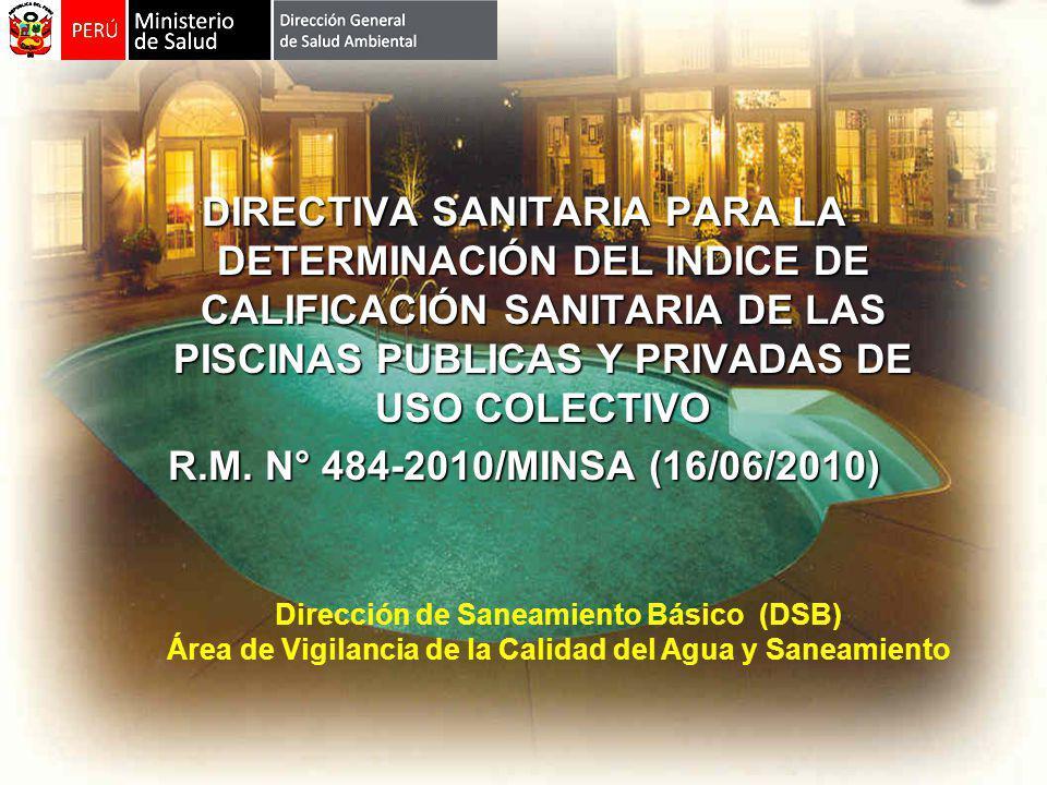 DIRECTIVA SANITARIA PARA LA DETERMINACIÓN DEL INDICE DE CALIFICACIÓN SANITARIA DE LAS PISCINAS PUBLICAS Y PRIVADAS DE USO COLECTIVO