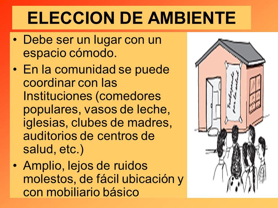 ELECCION DE AMBIENTE Debe ser un lugar con un espacio cómodo.