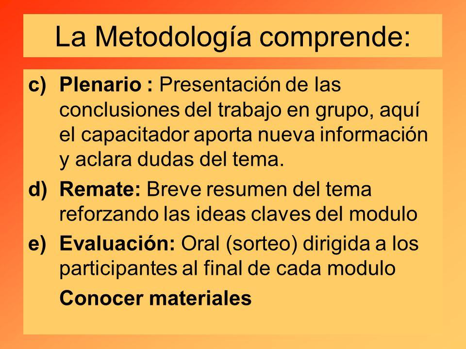 La Metodología comprende: