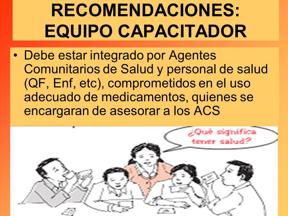 RECOMENDACIONES: EQUIPO CAPACITADOR