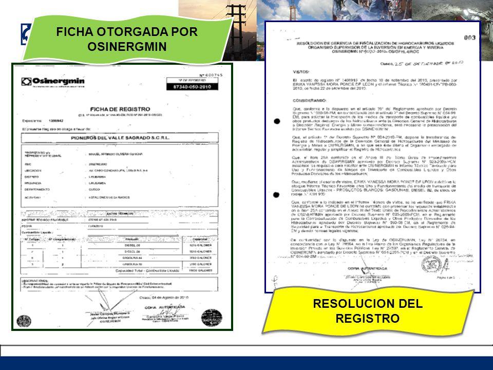 FICHA OTORGADA POR OSINERGMIN RESOLUCION DEL REGISTRO
