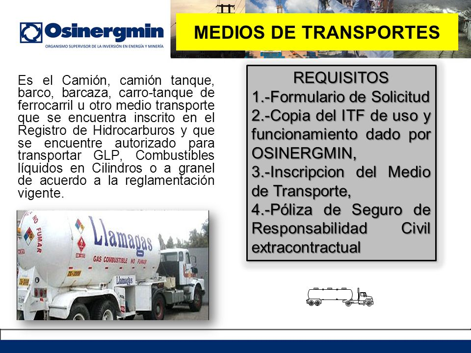 MEDIOS DE TRANSPORTES REQUISITOS 1.-Formulario de Solicitud