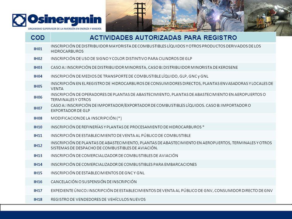 ACTIVIDADES AUTORIZADAS PARA REGISTRO