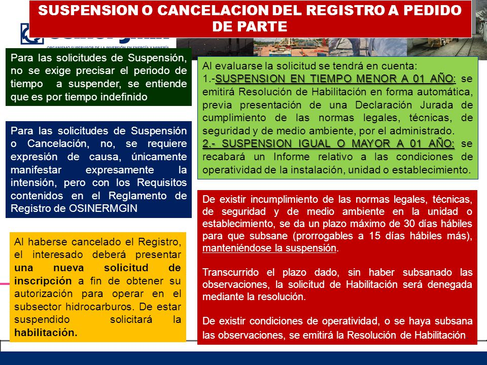 SUSPENSION O CANCELACION DEL REGISTRO A PEDIDO DE PARTE