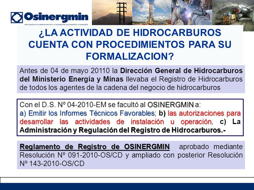 ¿LA ACTIVIDAD DE HIDROCARBUROS CUENTA CON PROCEDIMIENTOS PARA SU FORMALIZACION