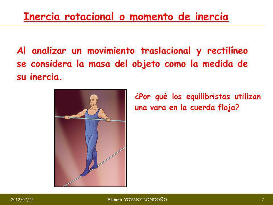 Inercia rotacional o momento de inercia