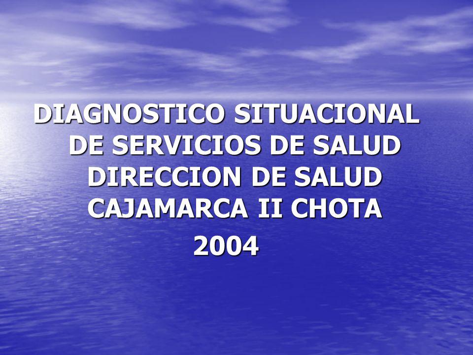 DIAGNOSTICO SITUACIONAL DE SERVICIOS DE SALUD DIRECCION DE SALUD CAJAMARCA II CHOTA