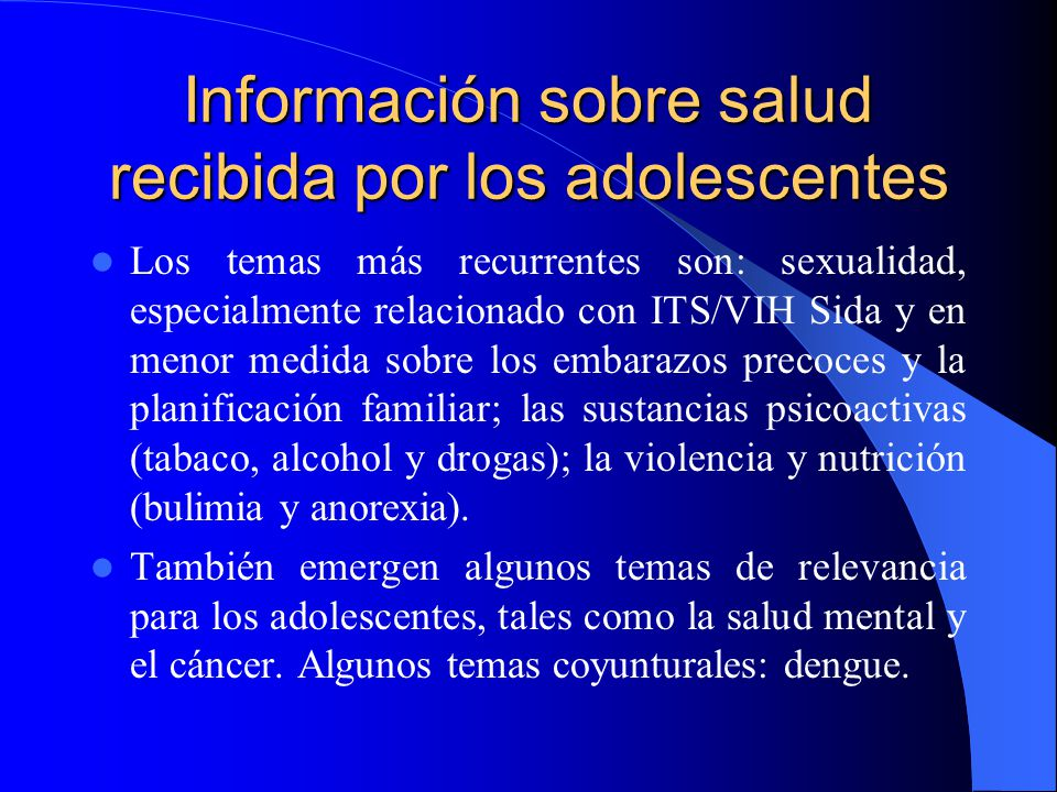 Información sobre salud recibida por los adolescentes