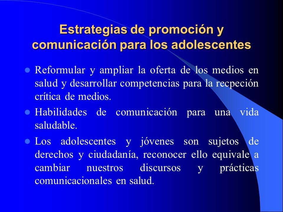Estrategias de promoción y comunicación para los adolescentes