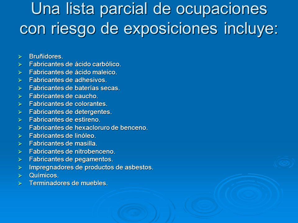 Una lista parcial de ocupaciones con riesgo de exposiciones incluye: