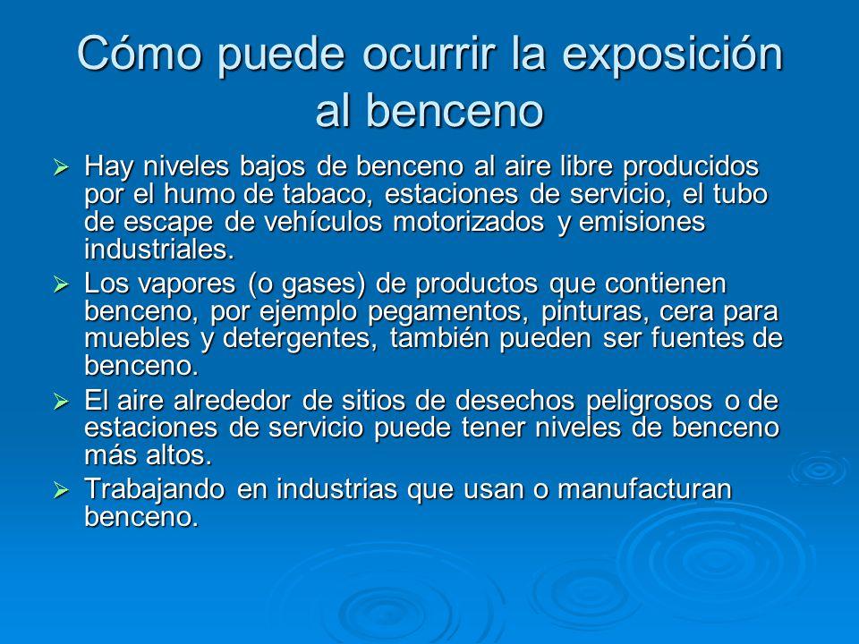 Cómo puede ocurrir la exposición al benceno
