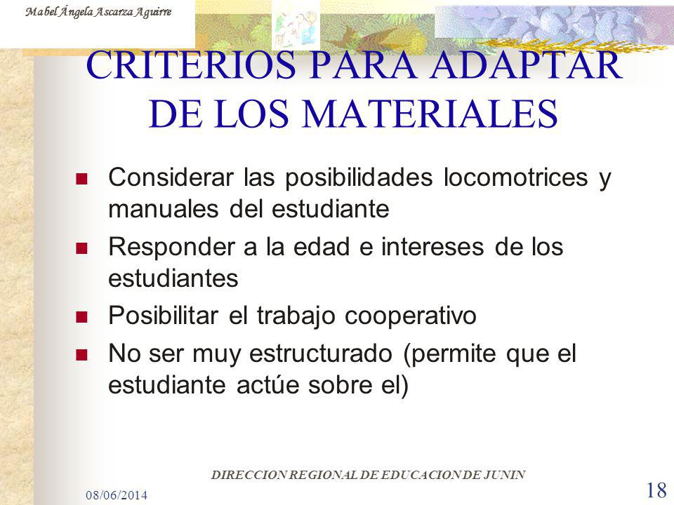 CRITERIOS PARA ADAPTAR DE LOS MATERIALES